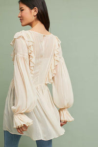 Anthropologie Women's Maeve Boho Metallic Stripe Cream Ruffle Blouse Tunic Top - Luxe Fashion Finds