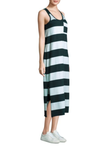 ATM Women's Sleeveless Lagoon Stripe Cotton Jersey Blue Column Tank Dress XS - Luxe Fashion Finds