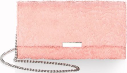 Loeffler Randall Women's Pink Fringed Leather Slim Tab Clutch Chain Shoulder Bag - Luxe Fashion Finds