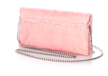 Load image into Gallery viewer, Loeffler Randall Women's Pink Fringed Leather Slim Tab Clutch Chain Shoulder Bag - Luxe Fashion Finds