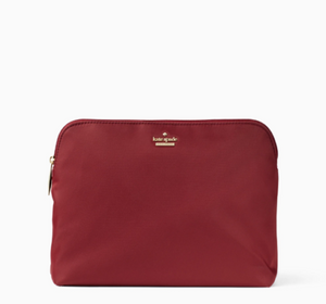 Kate Spade Watson Lane Briley Classic Nylon Top Zip Makeup Travel Case - Currant - Luxe Fashion Finds