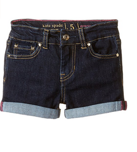 Kate Spade Girls' Rolled Cuffs Indigo Blue Stretch Zip Denim Jean Shorts - Luxe Fashion Finds