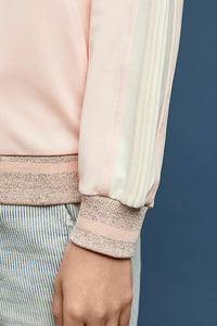 Anthropologie Women's Maeve Pink Ivory Stripe Bomber Zip Up Track Jacket - Luxe Fashion Finds