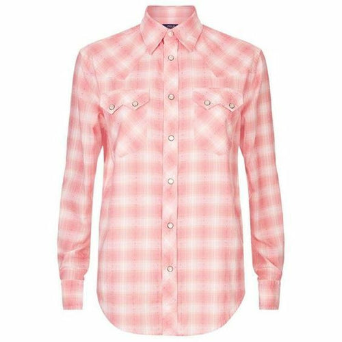 Polo Ralph Lauren Western Check Pearl-Button Up Pink Cotton Women's Shirt - Luxe Fashion Finds