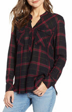 Load image into Gallery viewer, Rails Women's Redding Plaid Linen Rayon Button Up Black/Red Fray Hem Shirt XS. - Luxe Fashion Finds