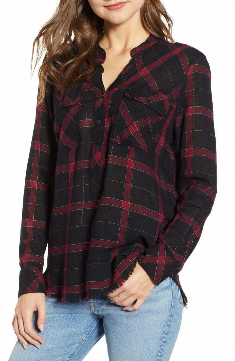 Rails Women's Redding Plaid Linen Rayon Button Up Black/Red Fray Hem Shirt XS. - Luxe Fashion Finds