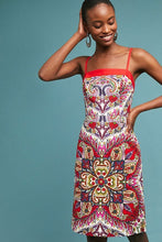 Load image into Gallery viewer, Anthropologie Women's Paisley-Print Strappy Cotton Shift Red White Dress – 10 - Luxe Fashion Finds