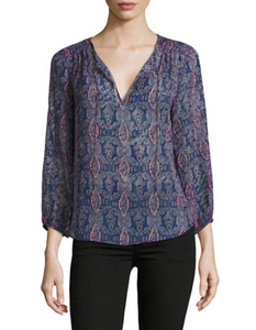 Joie Women's Odelette Silk-Blend V-Neck Mosaic Relax Fit Blue Blouse - Large - Luxe Fashion Finds