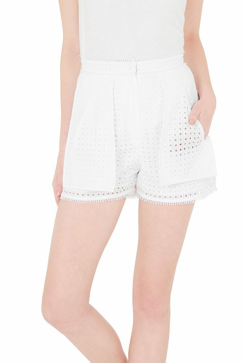 Sass & Bide TWO SUPER POWERS Women's Soft Tailored White Eyelet Short – 36-6 - Luxe Fashion Finds