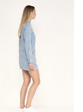 Load image into Gallery viewer, Juicy Couture Chambray Embroidered Cotton Mini Shirt Dress Mojave Wash - Small - Luxe Fashion Finds