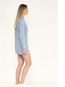 Juicy Couture Chambray Embroidered Cotton Mini Shirt Dress Mojave Wash - Small - Luxe Fashion Finds
