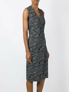 Alice + Olivia Carissa V-Neck Faux Wrap Sleeveless Sheath Gray Dress - 10 - Luxe Fashion Finds