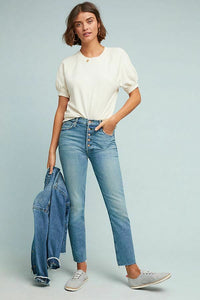 Mother Women's Pixie Dazzler Ankle Fray Faded Straight Jeans, Shoot To Thrill - Luxe Fashion Finds