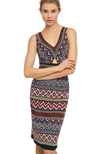 Anthropologie Bodycon Embroidered Bohemian Knit Sleeveless V-Neck Dress - Luxe Fashion Finds
