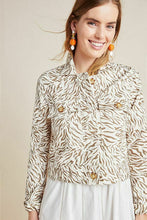 Load image into Gallery viewer, Anthropologie Women's Pilcro Animal Print Denim Trucker Off White Crop Jacket -M. - Luxe Fashion Finds
