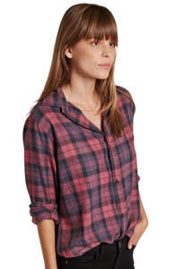 Current Elliott Women's Prep School Plaid Button Up Shirt, Red Rock - S (1) - Luxe Fashion Finds