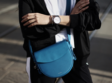 Load image into Gallery viewer, SKAGEN Women's Lobelle Leather Small Crossbody Saddle Bag –  Red or Blue - Luxe Fashion Finds