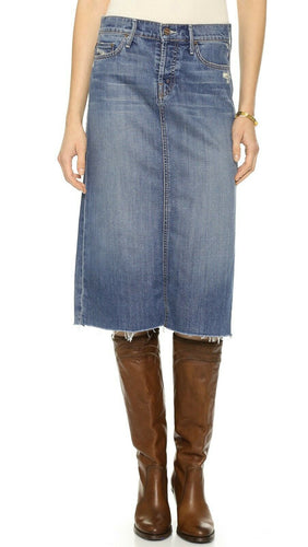 Mother Easy A Skirt Button Fly Raw Hem Faded Stretch Denim Knee Length Skirt, 25 - Luxe Fashion Finds