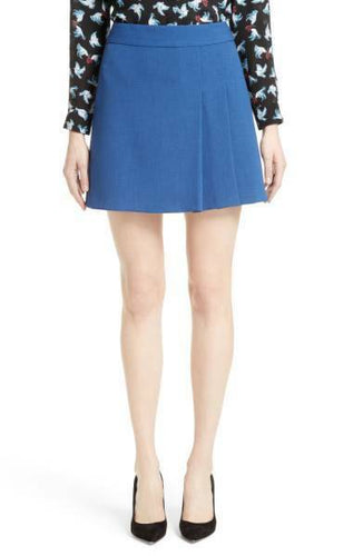 Alice + Olivia Women's Bianka Side Pleated Tailored Cobalt Blue Mini Short Skirt - 8. - Luxe Fashion Finds