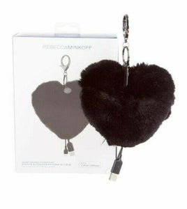 Rebecca Minkoff Heart Shape Rabbit Fur Power Puff Keychain iPhone Charger, Black - Luxe Fashion Finds