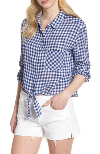 Rails Women's Gingham Blue White Check Cotton Linen Crop Tie-Front Shirt - M - Luxe Fashion Finds