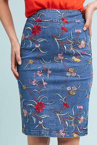Anthropologie Women's Maeve Floral Embroidered Stretch Denim Blue Pencil Skirt - Luxe Fashion Finds