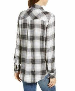 Rails Women's Hunter Plaid Button Up Long Sleeve Women's Shirt, Graphite White - S - Luxe Fashion Finds