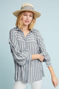 Anthropologie Women's Harshman Randall Striped Oversized Grey Shirt – Large - Luxe Fashion Finds