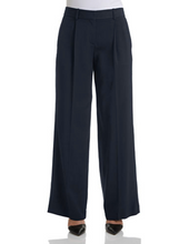 Load image into Gallery viewer, THEORY Women's Onark Wide Leg Front Pleat Tailored Navy Blue Crepe Pants  - 8. - Luxe Fashion Finds