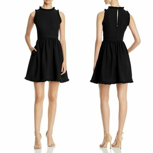 Kate Spade Women's Mock Neck Ruffle Fit & Flare Sleeveless Black  LBD Dress - 12 - Luxe Fashion Finds