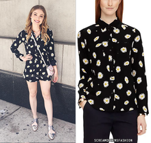 Load image into Gallery viewer, Kate Spade Women's Silk Blend Daisy Floral Button Up Black Women's Shirt - XS - Luxe Fashion Finds