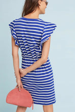 Load image into Gallery viewer, Anthropologie Women's Dolan Flutter-Sleeve Blue Cotton Striped Belted Dress - XL - Luxe Fashion Finds