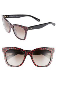 Kate Spade Women's Emmylou Heart Square 51mm Black UV Gradiant Sunglasses - Luxe Fashion Finds
