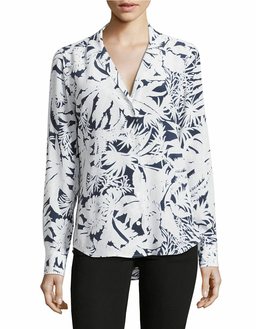 Equipment Women's Adalyn Silk Tropical Print V-Neck White/Blue Button Up Shirt - Luxe Fashion Finds