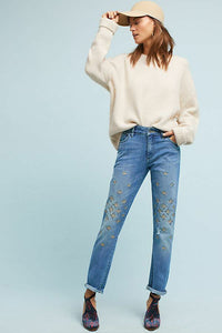 Anthropologie Women's  Pilcro High-Rise Embroidered Boyfriend Straight Crop Jean 28 - Luxe Fashion Finds