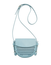Load image into Gallery viewer, Skagen Women's Lobelle Die-Cut Mini Leather Saddle Bag Crossbody, Sky Blue - Luxe Fashion Finds