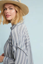 Load image into Gallery viewer, Anthropologie Women's Harshman Randall Striped Oversized Grey Shirt – Large - Luxe Fashion Finds