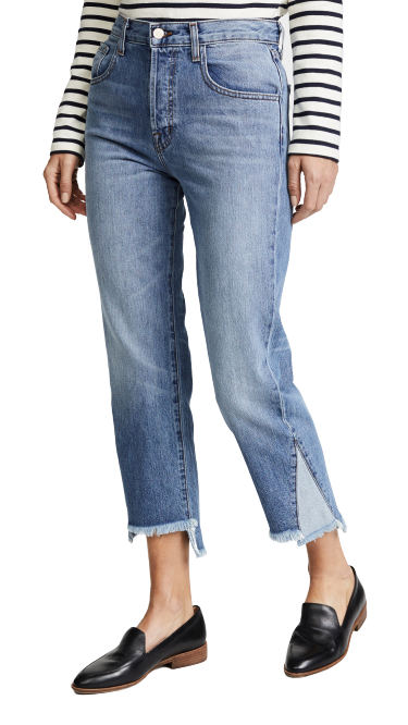 J Brand Women's Wynne Crop Straight Leg Contrast Fray Hem Crop Jeans, Hydra 27 - Luxe Fashion Finds