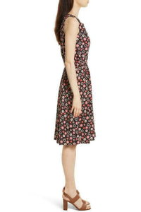 Kate Spade Women's Floral Crepe Sleeveless Gold Stud Neckline A-line Pink dress XS - Luxe Fashion Finds