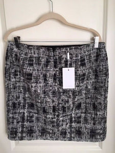 INWEAR Blair Black Gray Graphic Check Wool Blend Mini Short Skirt – 12 (42) - Luxe Fashion Finds