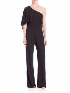 Trina Turk Women's One Shoulder Draped Retro Jersey Wide-Leg Black Jumpsuit - 0 - Luxe Fashion Finds