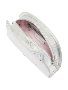 Ted Baker Women's Kirstie Cat Pebble Leather Silver Top Zip Small Crossbody Bag - Luxe Fashion Finds