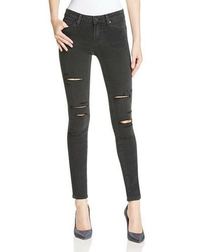 Paige Women's Verdugo Ultra Skinny Mid-Rise Jeans Black Fog Destructed - 24 - Luxe Fashion Finds