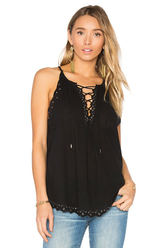 Paige Liana Sleeveless Lace Up Cotton Gauze  Studded Hem Black Tank Top - M - Luxe Fashion Finds