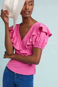 Anthropologie Tracy Reese Women's Ruffled Short Sleeve Pink Cotton Wrap Top – 4 - Luxe Fashion Finds