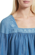 Load image into Gallery viewer, Kate Spade Women's Chambray Ruffle Floral Embroidered Smocked Blue Top - Luxe Fashion Finds