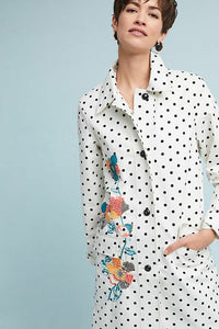 Anthropologie Women's Floral Polka Dot White Cotton A-Line Peacoat Jacket - S/M - Luxe Fashion Finds