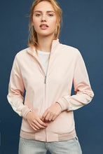 Load image into Gallery viewer, Anthropologie Women's Maeve Pink Ivory Stripe Bomber Zip Up Track Jacket - Luxe Fashion Finds