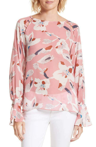 Tanya Taylor Women's Samile Silk Hand-Painted Pink Floral Print Flare Cuff Blouse - Luxe Fashion Finds