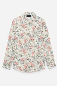 Kooples Women's Silk Crepe Floral Botanical Button Up Long Sleeve Off White Shirt - Luxe Fashion Finds